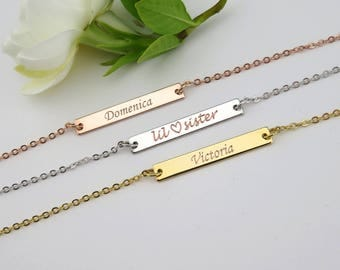 Bar Necklace, Name Necklace, Custom Bar Necklace, Date Necklace, Gold Bar Necklace, Sister gift, Frienship necklace, Birthday date