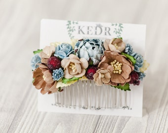 Brown Hair Comb, Floral Bouquet Hair Comb, Jewelry Vintage Blue Wedding Bridal Hair Comb, Hair Accessory, Brown Blue Wedding