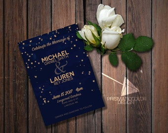 Night Stars Wedding Invitation (DIGITAL FILE)