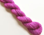 orchid / hand dyed yarn / mini skein / sock fingering yarn / merino wool superwash / embroidery / 4 ply / sparkle / orchid fuschia pink yarn