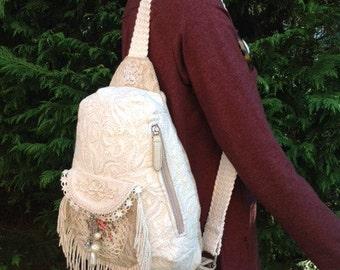 Elegant Handmade Victorian Lace Over the Shoulder Sling Bag