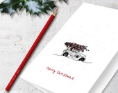 Oldtimer Christmas Card Printable Old Car Xmas Tree Black White Red French Spanish Russian Portuguese Holiday Greetings Letter A4 Download
