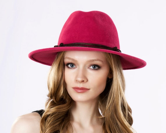 Wide Brimmed Fedora Hat Women Spring Fashion Spring Accessories Pink Hat Magenta Hat Women's Fedora Kentucky Derby Hat Spring Hat Fuchsia