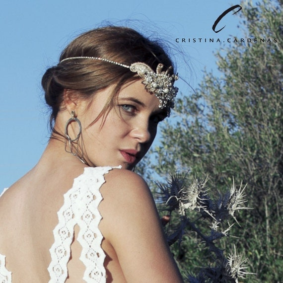 Wedding lace head piece with rhinestone AURIUM
