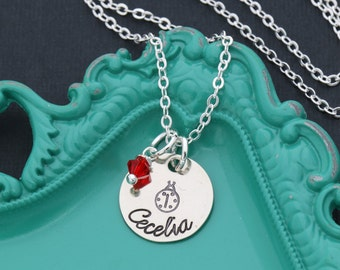 FREE SHIP • Ladybug Necklace • Little Girl Necklace Personalized Red Ladybug Jewelry • Ladybird Necklace Girls Birthday Party Favor Gift Bug
