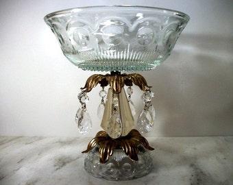Unique Pattern Glass Fruit Bowl Compote 7 Chandelier Prisms Golden Leaf Vintage Table Decor Centerpiece