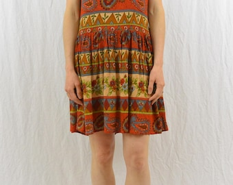 Vintage Mini Dress, Size XS-Small, Pockets, Earthy, Hippie, Boho, Grunge, Mixed Print, Burnt Orange, 80's-90's Clothing, Festival Clothing