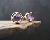 Amethyst studs, rose cut studs, faceted amethyst, natural stone, cabochon earrings, gold studs, gemstone studs, purple studs, thorn earrings