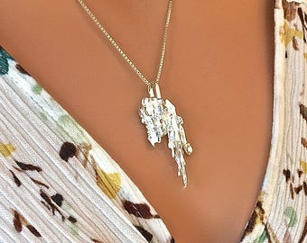 Grand Waterfall Necklace Recycled Fine Silver and Argentium Silver Cast JEWERLY