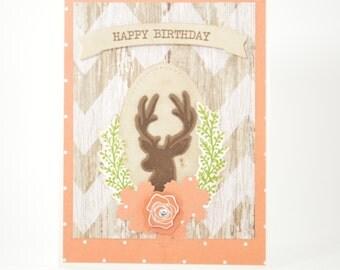 Stag Deer Birthday Card -  Feminine Rustic -  Handmade Card -  Deer and Chevron