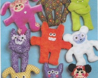 Wacky Creatures Create It Doll Pattern Sewn On Faces Button Eyes, Sewing Pattern