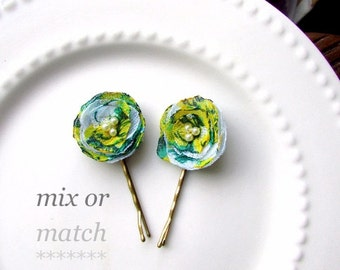 Green & Yellow Hair Pins with Tiny Ivory Pearls, Mini Floral Hair Clips Toddler Girls Hairpin, Small Petite Silk Flower Bobby Pin Bridesmaid
