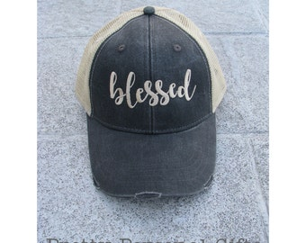 Blessed Hat, Blessed Trucker Hat, Blessed Apparel, Blessed Gifts, Blessed Distressed Trucker Hat, Blessed Baseball Cap, Blessed Baseball Hat