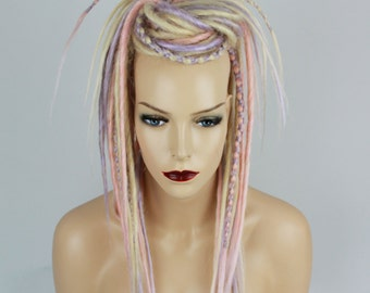 Lavender, Blonde & Patel Pink Dread Falls With Criss-Crossed, 20 Inches Long
