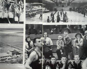 Kansas Basketball Fever Sharon Springs KS  High School 1958 Photo Spread Cheerleaders School Staff Life Mag  Lot 3 pgs.  March Madness 13x10