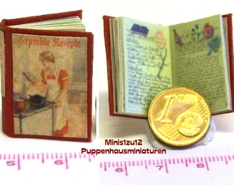 """1024# Cook book """"Tested Recipes"""", Doll house miniature in scale 1/12"""