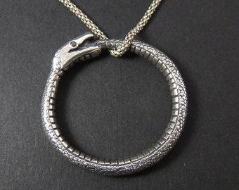 Snake Pendant - Serpent Pendant - Snake Cycle - Ouroboros Pendant - Snake Biting Its Tail - Eternity Symbol - Symbol of Time - Occult Symbol