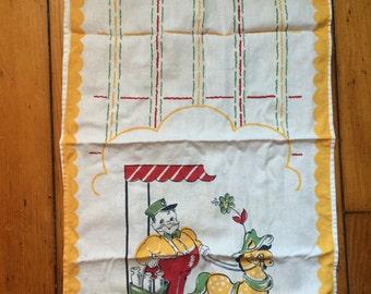 Vintage Deer & Cart Tea Towel Dish Towel Kitchen 1950s 1960s Kitsch Decor Milk Man Americana