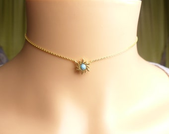 Gold sun choker Necklace, gemstone sunburst choker,birthday present,Gift idea,Christmas present,holiday gift