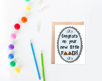 Shower Card for Baby - Funny New Baby Card - Baby Congrats - Boy Baby Shower Card - Blue - Congrats on Your New Little Pooper