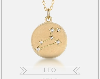 Leo necklace, Leo star constellation disc pendant, Personalized zodiac astrology jewelry, diamonds solid 14k yellow rose white gold, sc-n101