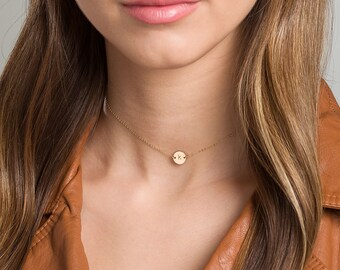 Gold Choker · Initial Necklace · Rose Gold Choker · Coin Disc in Sterling Silver, Rose Gold Filled, Gold Filled