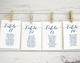 Navy Wedding Seating Chart Template, Printable Wedding Seating Chart, Navy Wedding Seating Chart Cards, Seating Chart Alphabetical