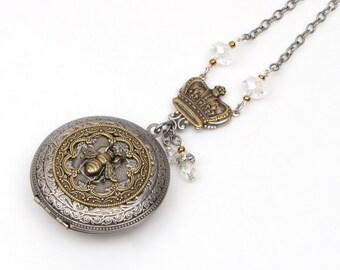Bee Locket Jewelry, Long Layering Pendant, Long Photo Locket, Honey Bee Necklace, Large Locket, Photo Locket Gift, Picture Locket Gift