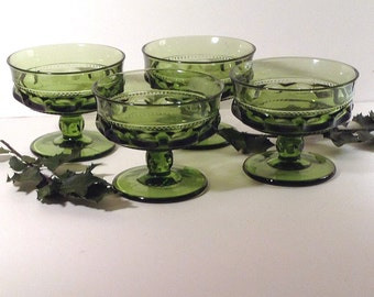 Vintage Green Footed Dessert Glasses, Coupe Glasses, Sherbert Glasses, Pressed Glass Dessert Glasses