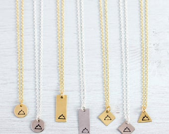 Tiny Mountain Necklace - Little Mountain Necklace - Hand Stamped Mountain Pendant - Adventure Necklace - Gold/Silver Small Mountain Necklace