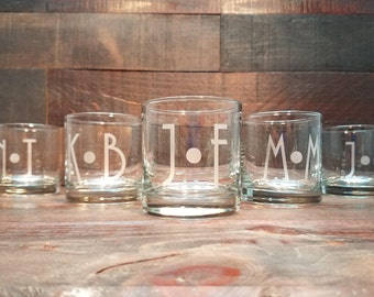 Personalized Whiskey Glasses / Monogram Glasses / Engraved Whiskey Glasses / Etched Glasses / Custom Whiskey Set - Select ANY QUANTITY