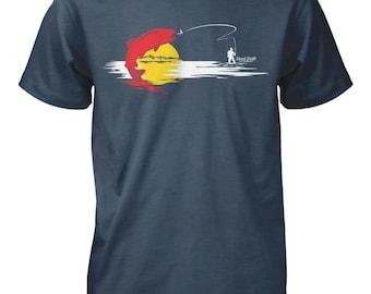 Fishing T shirt Colorado Fishing Flag, Colorado, Graphic Tee, Trout, Fishing Shirt, Fly Fishing Gifts, Fly Fishing, Fishing, Fishing Art,
