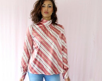 Vintage 80's Shirt Blouse Women's Pink white Vintage Top 80's Shirt  Blouse Retro Fashion Blouse Women's Clothing