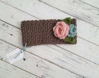 Ear Warmer, Crochet Ear Warmer, Flower Headband, Crochet Headwrap, Kids Headband, Child Ear Warmer, Toddler Earwarmer, READY TO SHIP!