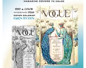 PDF DOWNLOAD VOGUE Grayscale Vintage adult coloring book Vogue's Shaded Ladies Vintage Vogue Magazine covers 1893-1922.