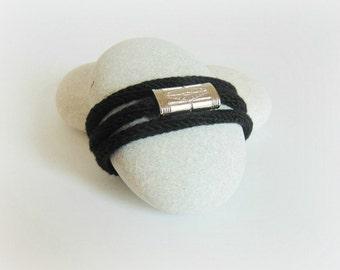 black yarn bracelet black yarn jewelry statement bracelet knitted bracelet necklace knitted jewelry trendy bracelet fiber bracelet black
