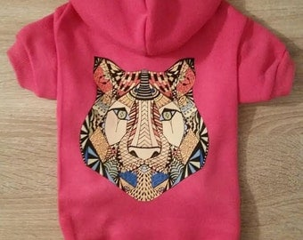 Pink Lion Dog Hoodie - Pet Gear - Pet Clothing -Dog Shirts - Dog Clothing - Lion Print - Dog Clothes - Lion Dog Clothes - Cute Dog Hoodies