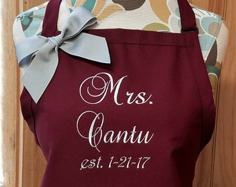 Personalized Apron for New Brides Monogrammed Apron