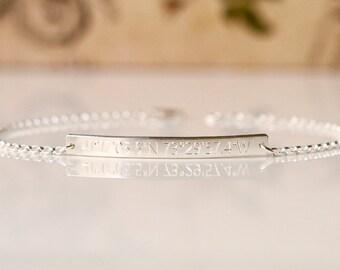 SILVER Skinny & Dainty Bar Bracelet - Personalized Bar Bracelet, GPS Coordinates Bracelet, Skinny Engraved Bar Bracelet - dB3532r