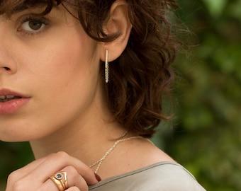 Long Bar earrings, silver stud earrings, minimalist earrings, geometric earrings, women gift, elegant studs,jacket earrings