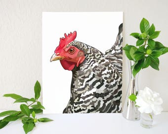 Chicken Art Print, Modern Farmhouse Decor, Chicken Painting, Hen Painting, Plymouth Rock Chicken, Rooster Kitchen Prints, Farm Animal Art
