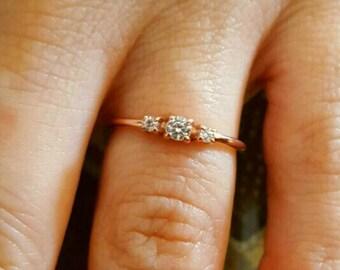 3 Stone Ring - Gold Ring - Diamond Ring - Rose Gold Ring - 925K Silver Zirconia Ring
