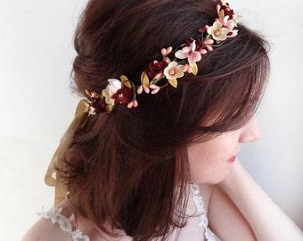 burgundy headband, burgundy wedding, bridal headband, bridal headpiece, wedding floral crown, mustard burgundy flower crown, floral headband