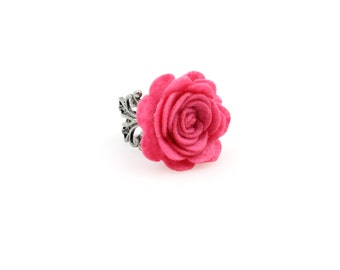 SALE Regularily 9.95 - Fuchsia Pink Rose Ring - Choose Your Own Adjustable Band - Felt Flower - brass, copper or silver