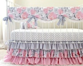 Pink Gray Crib Bedding, Watercolor floral baby bedding, Baby Girl Bedding, grey nursery bedding, crib rail cover,crib sheet,ruffle cribskirt