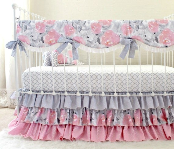 pink gray crib bedding watercolor floral baby bedding grey nursery set ruffle crib blanket pillow crib sheet and ruffle crib skirt