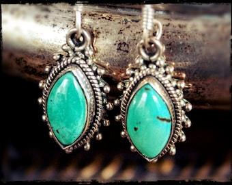Ethnic Turquoise Earrings - Gypsy Boho Turquoise Earrings