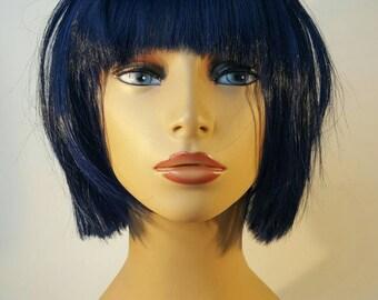 Short Blue Bob, Short Bob with Bangs, Blue Bob, Blue Bob with Bangs, Deep Blue Bob, Dark Blue Bob with Bangs, Short Blue Wig