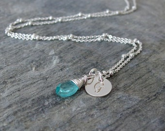 Delicate gemstone necklace Blue Apatite necklace Bridesmaid necklace Apatite pendant Bridesmaid jewelry bridesmaid gift Something blue
