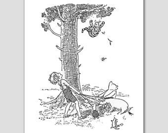 Black White Nursery Prints (Tigger Birthday Gift, Christopher Robin, Winnie the Pooh)